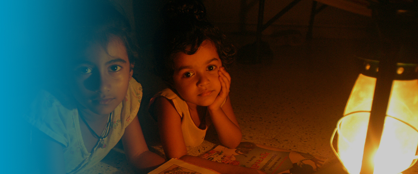Photo children lighted by photovoltaic power