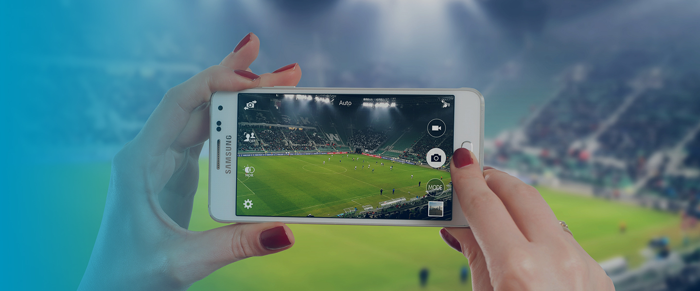 Picture of mobile in a stadium